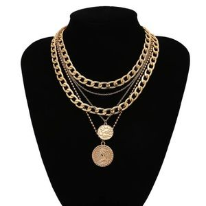 Layered Chains Adjustable Necklace New